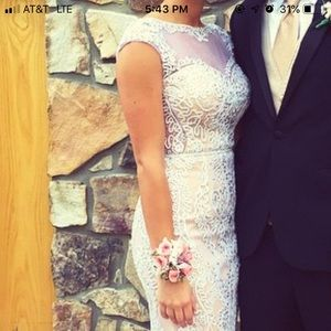 White and Tan Long Lace Prom or Evening Dress